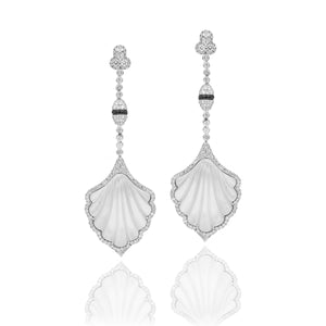 Onyx, Mother of Pearl and Diamond Fan Earring