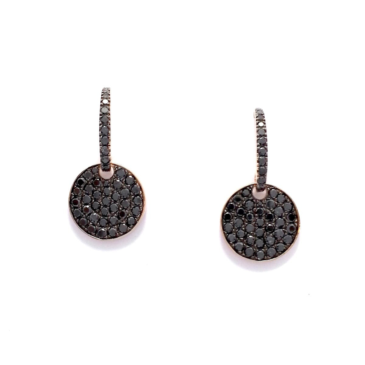 Black Diamonds Round Drop Earrings