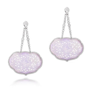 Grade A Lavender Jade and Diamond Earrings