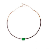 Black Diamond Choker with Emerald Cut Zambian Emerald