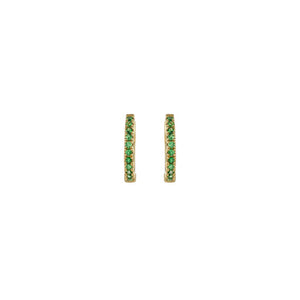 Single Row Emerald Mini Hoops
