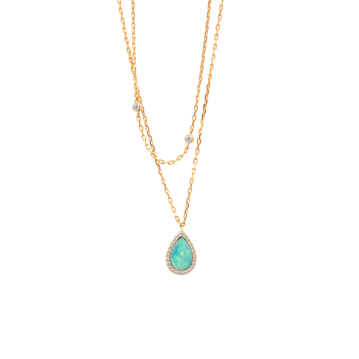 Opal and Diamond Chain Necklace
