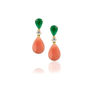 Coral, Emerald and Diamond Earring
