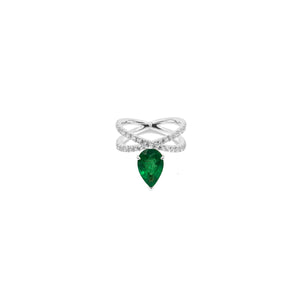 Pear Emerald and Diamond  X Ring - White Gold