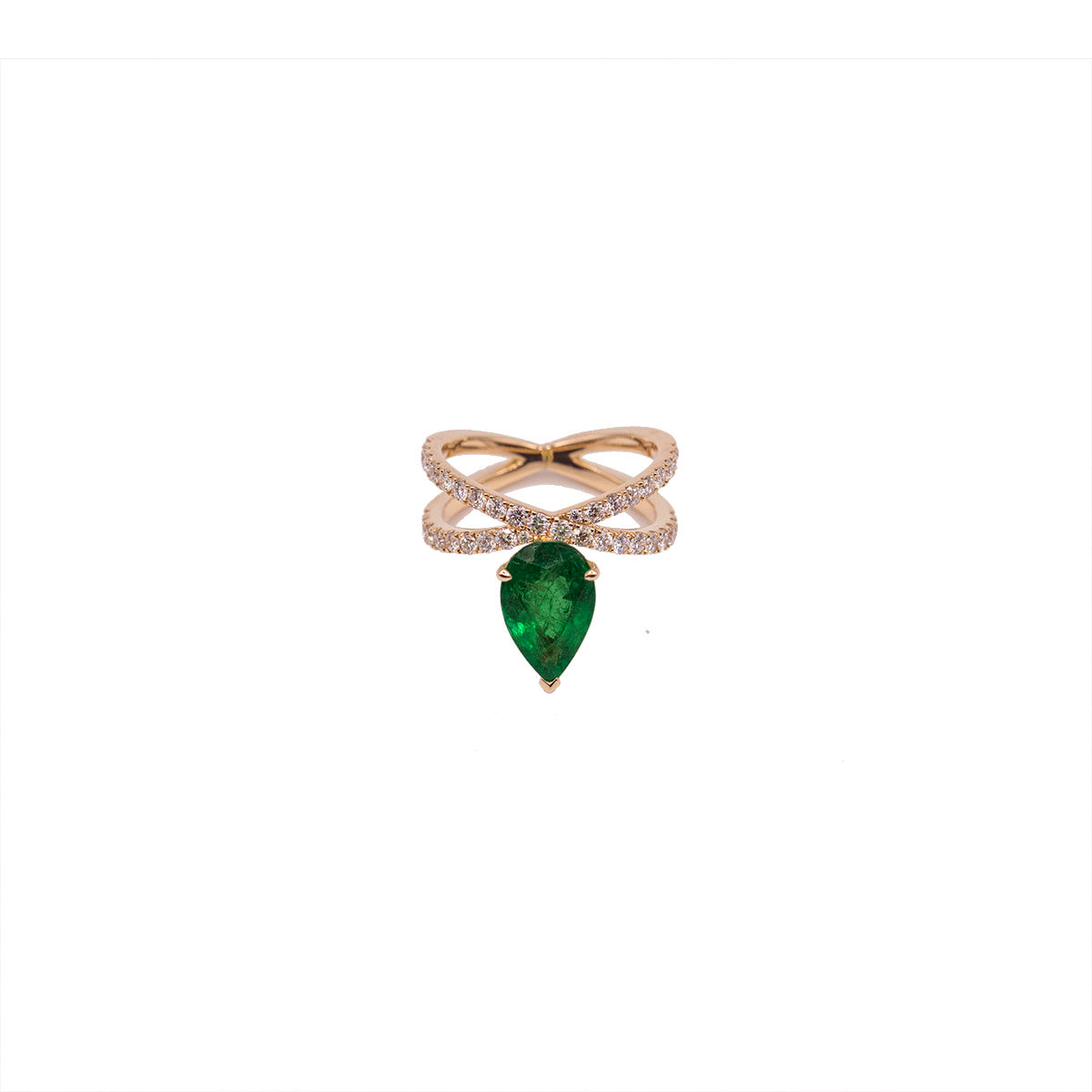 Pear Emerald and Diamond  X Ring - Rose Gold