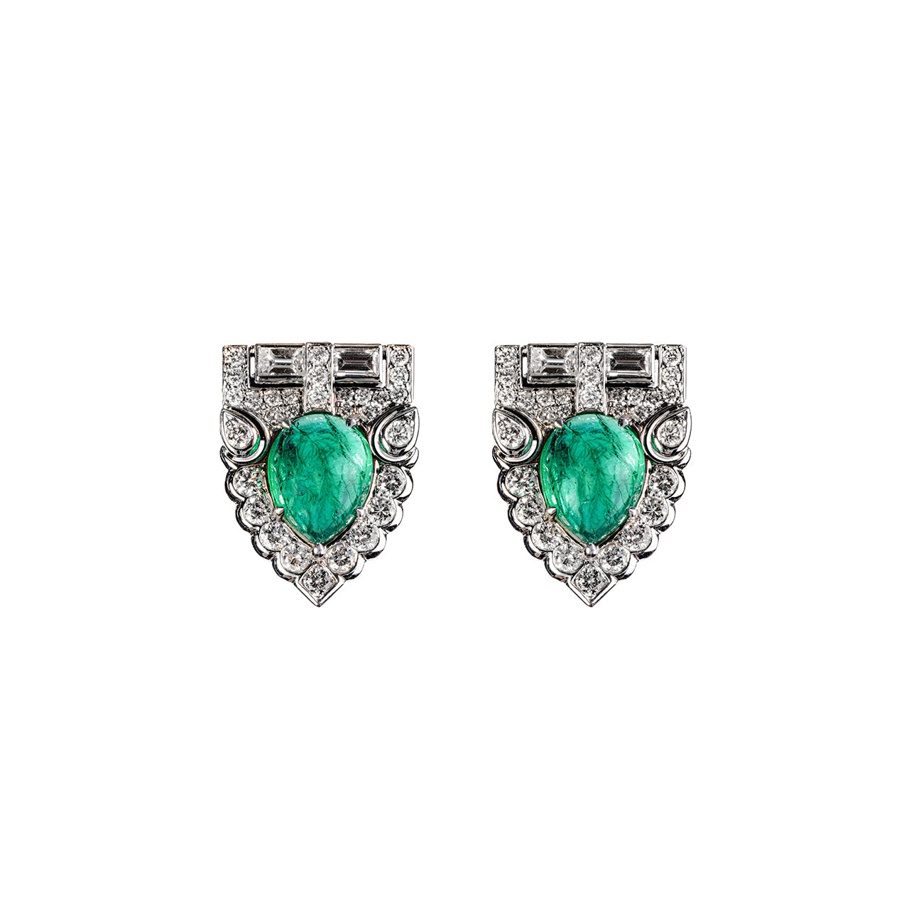 Green Emerald  Shield  Earring