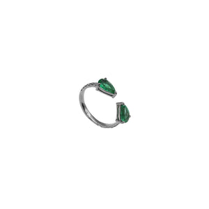 Pear on Pear Emerald Ring