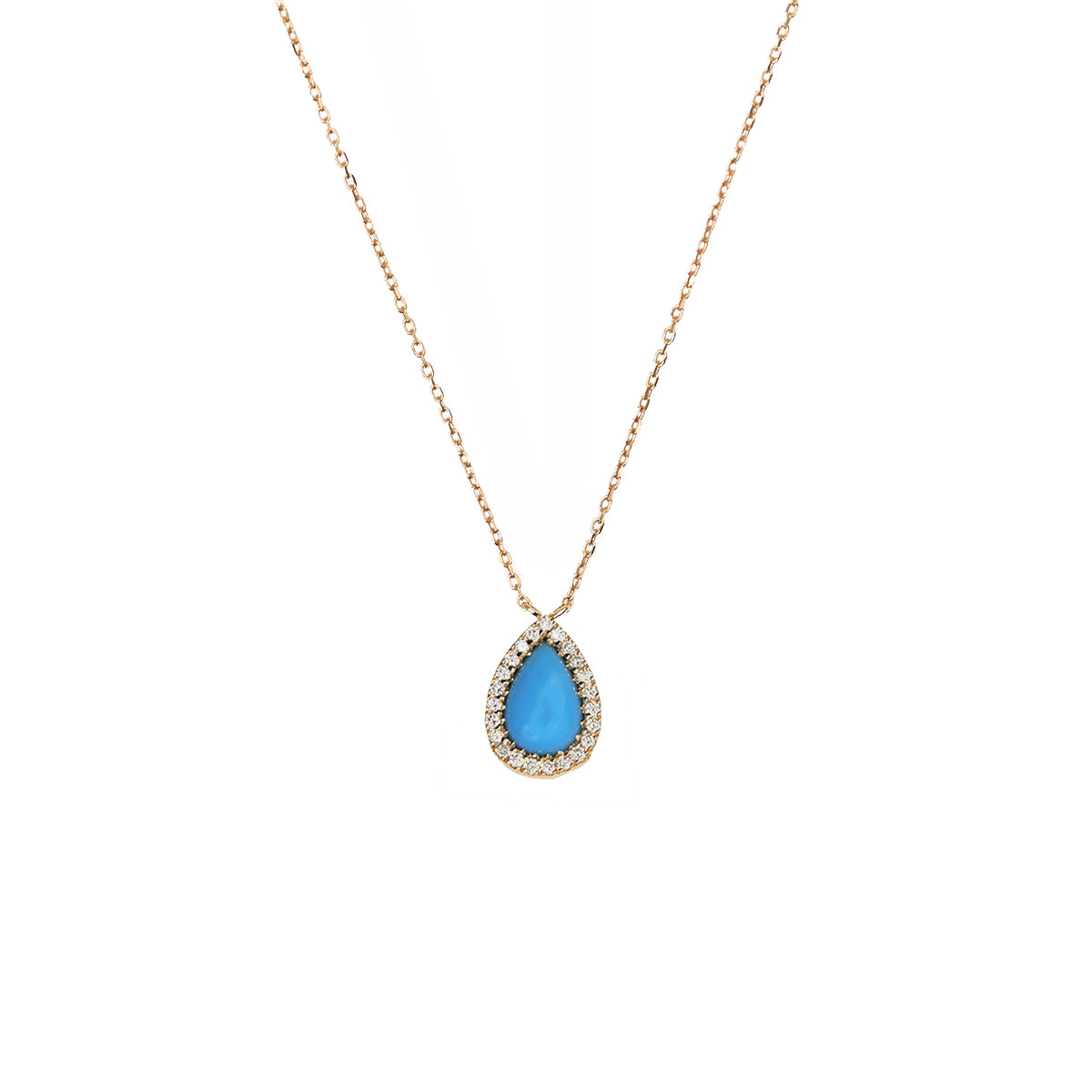 Pear Turquoise and Diamond Necklace