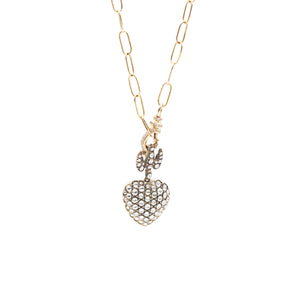 Flying Heart Falamank Long Pendant with Diamond set Lock