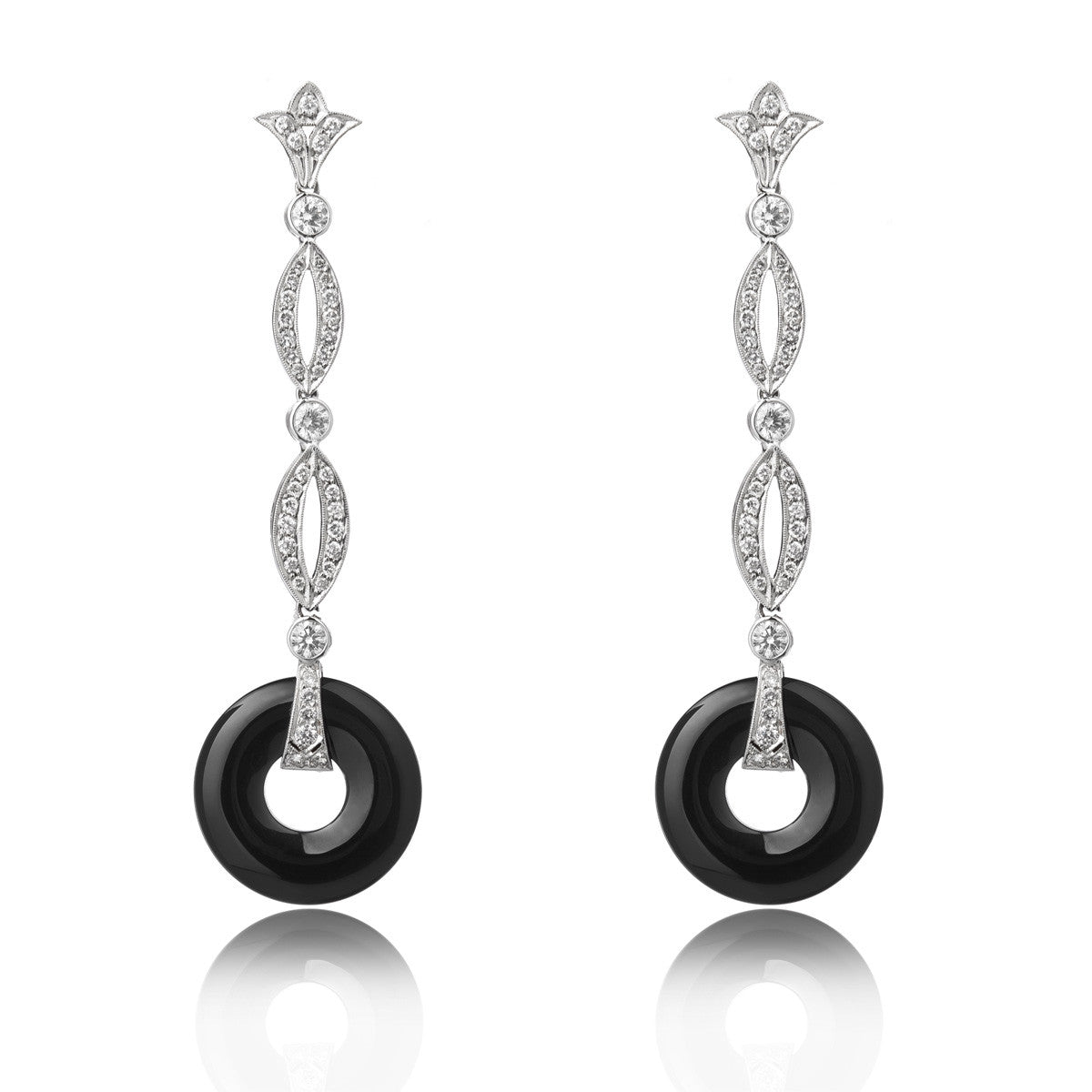 Diamond And Onyx Earrings