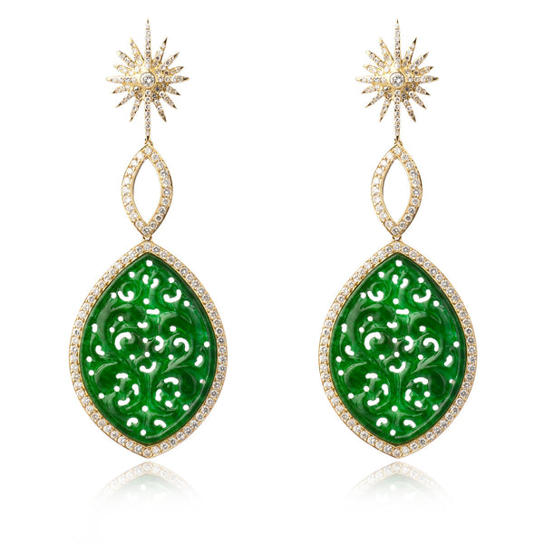 Green Jade and Starburst Diamond Earrings