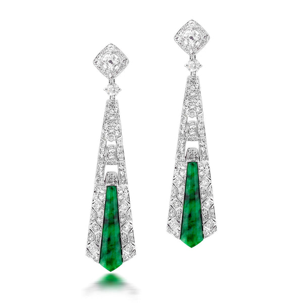 Green Jade and Diamond Vintage Earrings