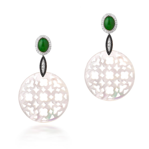 Carved Mother of Pearl and Jade Earrings