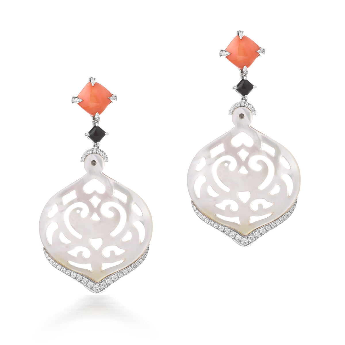 Carved Mother of Pearl and Coral Earrings