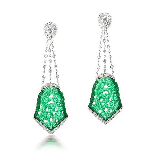 Green Jade and Chain Earrings
