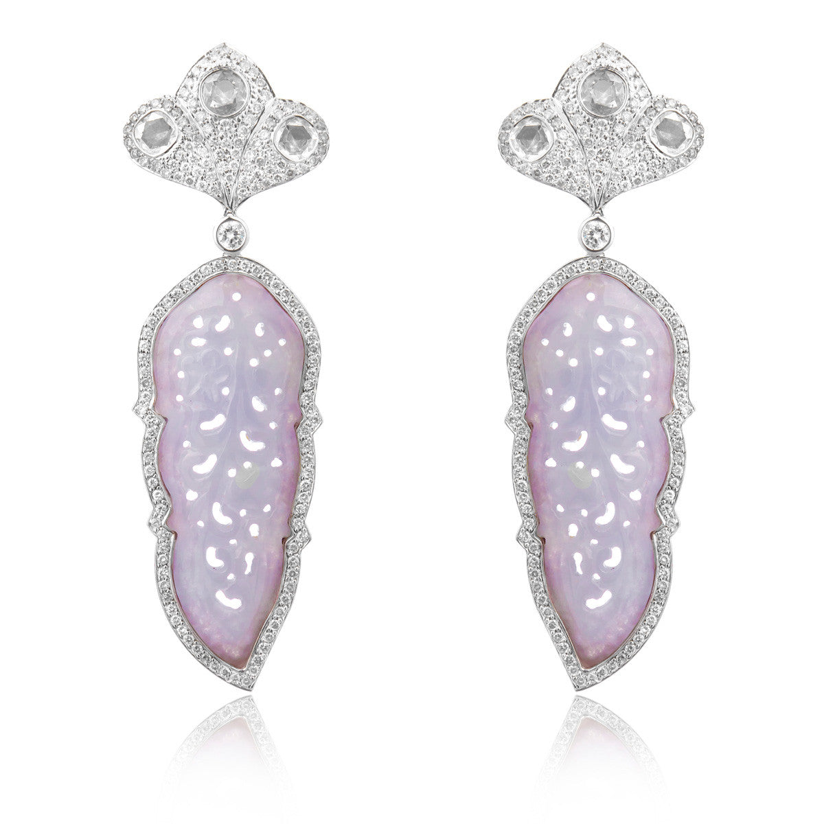Lavender Grade A Jade and Diamond Earring