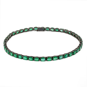 Oval Emeralds Choker with Lock Detail