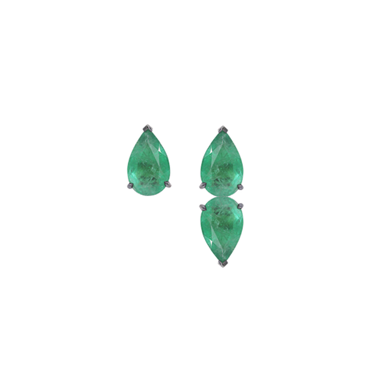 Emerald Pear Stud with Pear on Pear Emerald Earring