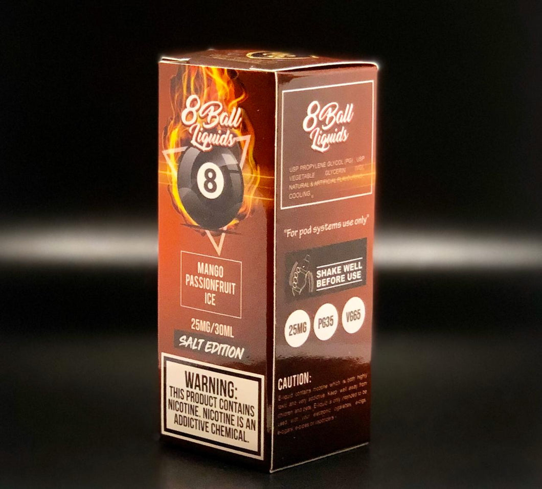 8 Ball Salt Nic E-Liquid - Mango Passion Ice