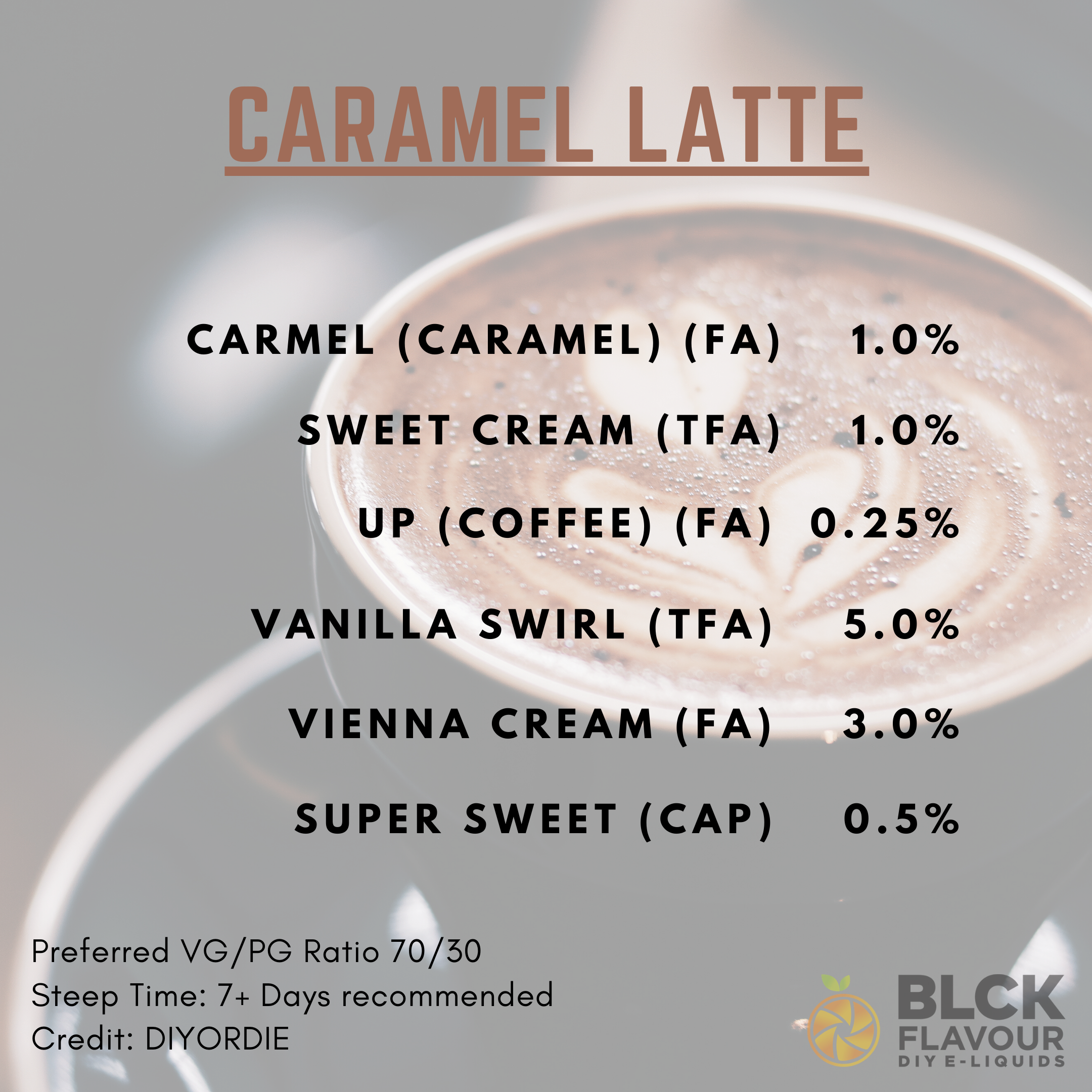 RB Caramel Latte Recipe Card