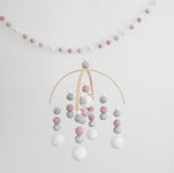 Glitter Silver, Pink, White & Grey Mobile & Garland