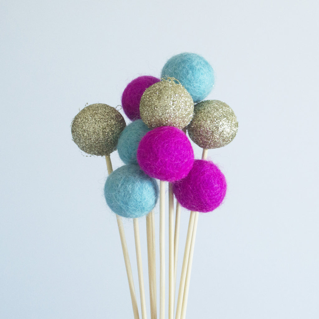 Glitter Gold, Hot Pink & Aqua Flower Poms