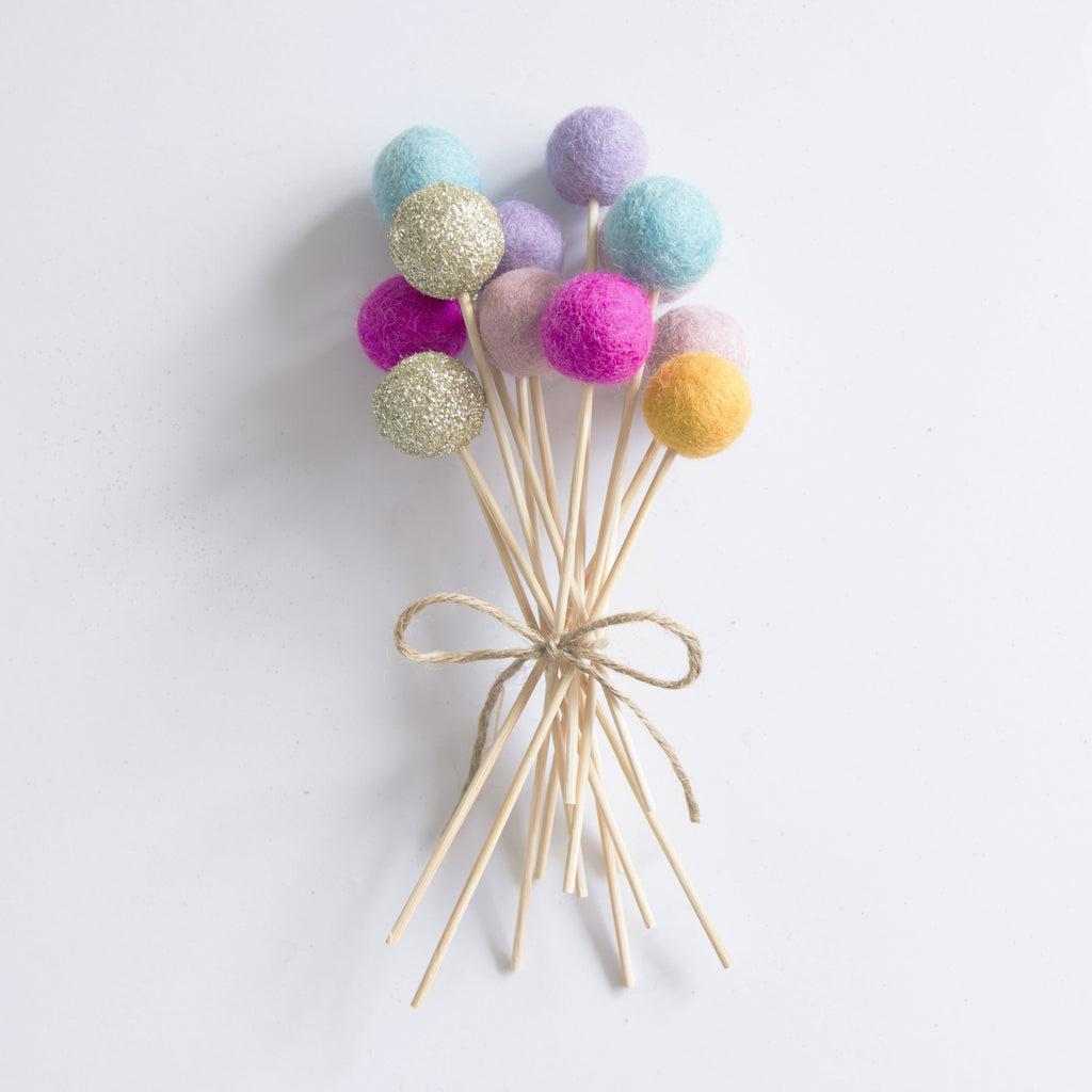 Glitter Gold, Hot Pink, Aqua, Mustard & Purple Flower Poms