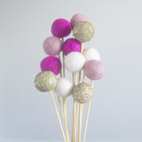 Glitter Gold, Hot Pink & White Flower Poms