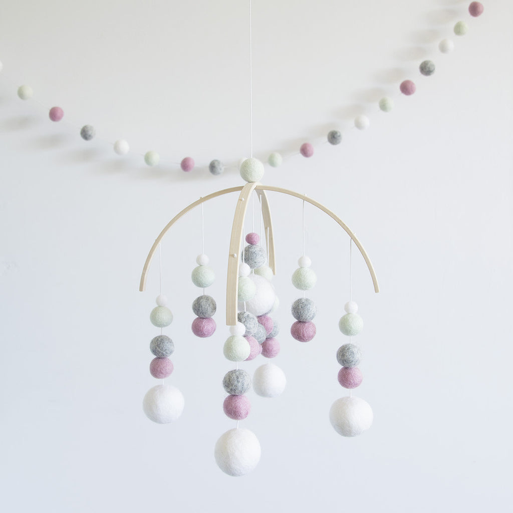 Pink, Mint, Grey & White Mobile & Garland