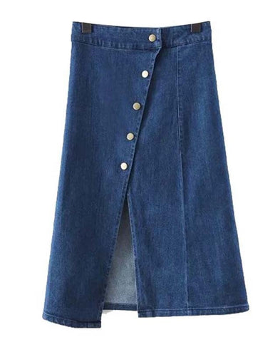 A-line Denim Skirt with Button Detail_6999