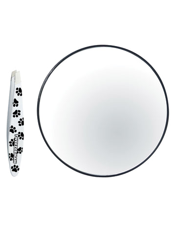 Mini Paw Print Tweezer With Mirror