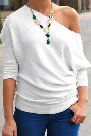 1/2 Length Sleeve Bateau Collar Top in White