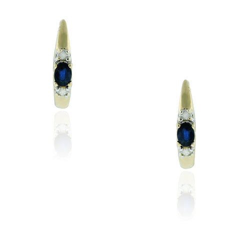 """10K Yellow Gold & Diamond Sapphire Earrings"" - SprintShopping"
