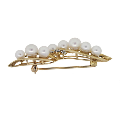 """14K Yellow Gold Diamond and Pearl Pin"""