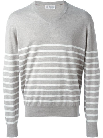 Brunello Cucinelli striped V-neck sweater