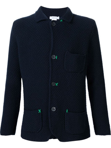 Avant Toi contrast stitching textured button down cardigan