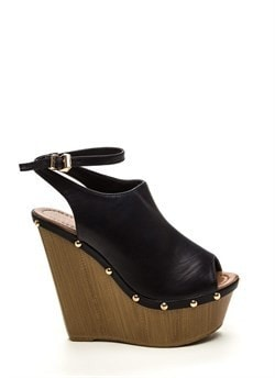 70S Groupies Faux Leather Wedges Black