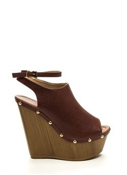 70S Groupies Faux Leather Wedges Brown