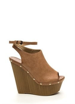 70S Groupies Faux Leather Wedges Tan