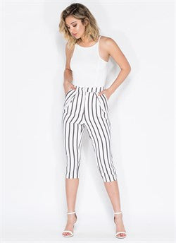 All Business Striped Cropped Pants White