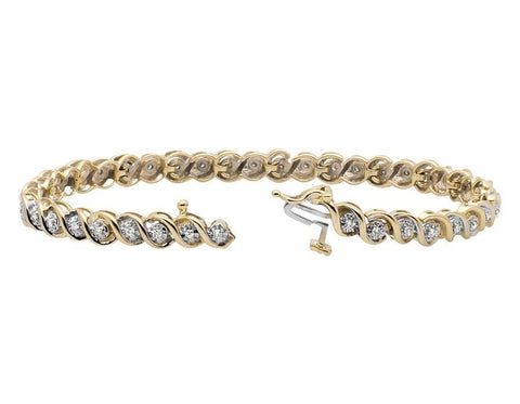 """10K Yellow Gold Wide S-Link Miracle Set Round-Cut Diamond Bracelet"" - SprintShopping"