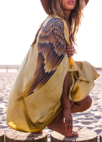 Batwing Sleeve Eagle Wings Print Golden Cover Ups