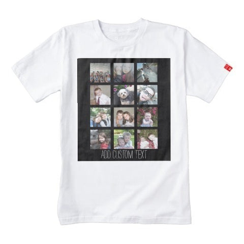 12 Photo Instagram Collage with Black Background Zazzle Heart T-shirt