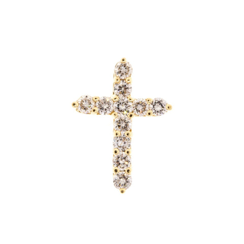 """1.10 ct Diamond 14K Yellow Gold Womens Ladies Cross Pendant"" - SprintShopping"