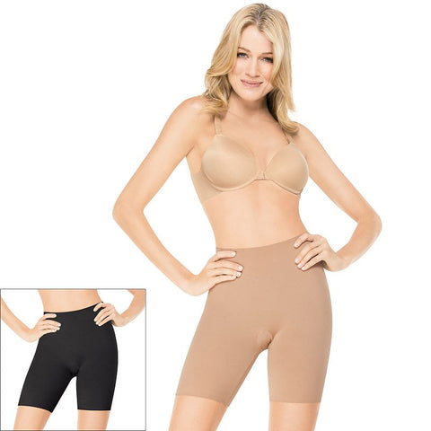 Assets Red Hot Label by Spanx Reversible Mid-Thigh Flipside Firmers 1874 - Women's Black Bare