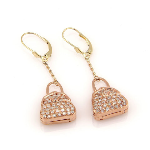 """10K Rose Gold Pave Diamond Hand Bag Locket Dangle Earrings"" - SprintShopping"