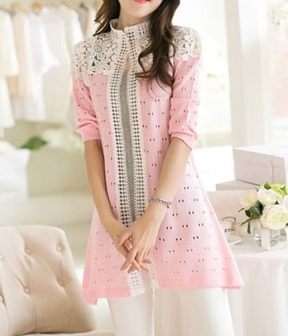 3 4 Sleeve Stand Up Collar Cardigan