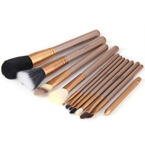 12Pcs Naked Makeup Brushes with Zippered Leather Bag