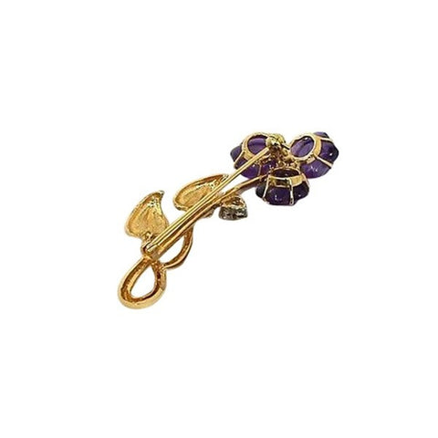 """14K Yellow Gold Diamonds & Carved Amethyst Flower Pin"""