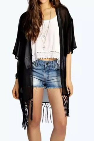 1 2 Sleeve Fringed Solid Color Kimono Blouse For Women